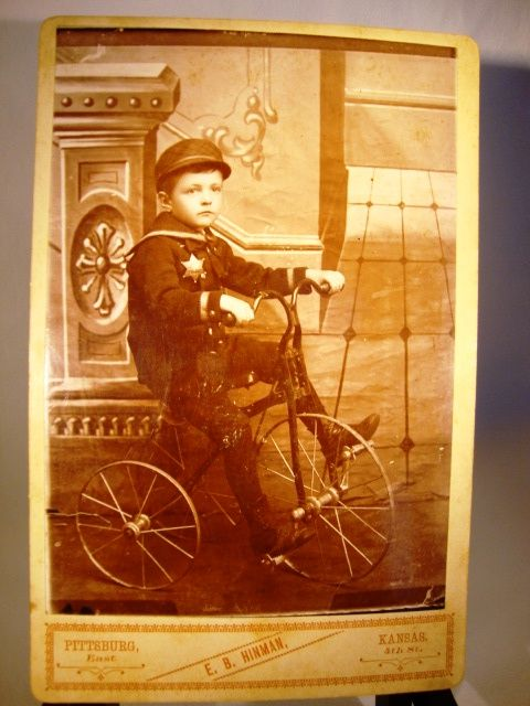 Wonderful Cabinet Card of Boy and His Tricycle ~  EB Hinman Pittsburg KS 1880's