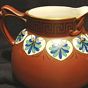Wonderful American Faience / Majolica Pitcher ~ Hand Painted Burgundy Brown with Art Deco Design ~ Myrian Pattern ~ DF Haynes & Co Chesapeake Pottery Baltimore MD 1900-1920