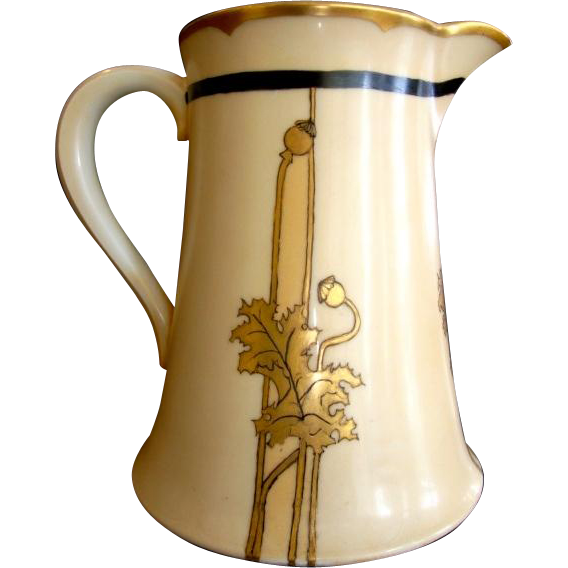Limoges Porcelain 50 Oz Pitcher ~ Hand Painted with golden Poppy Leaves & Pods ~ Artist Signed ~ Theodore Haviland France 1903