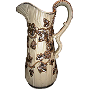 REDUCED!! Fantastic large German Pitcher ~ Overlay Silver Grapes & Vines~ Villeroy Boch Mettlach Germany ca 1880's