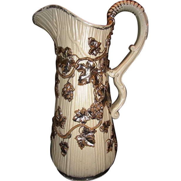 Fantastic large German Pitcher ~ Overlay Silver Grapes & Vines~ Villeroy Boch Mettlach Germany ca 1880's