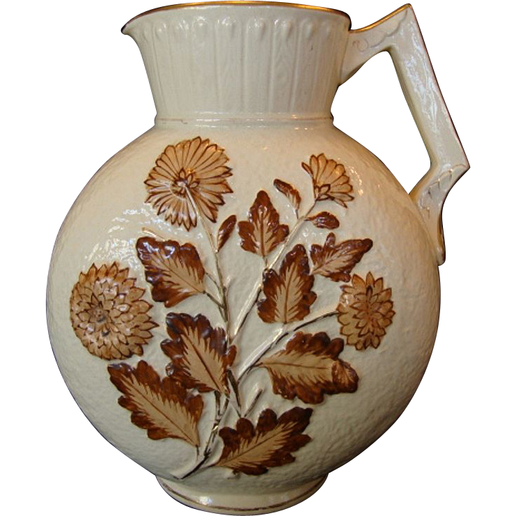 "Gorgeous Avalon Faience / Nearly 13"" tall! Majolica Balt Ivory Decorative Moon Shaped Pitcher with Brown Chrysanthemums ~ Chesapeake pottery DF Haynes & Son Co 1879 – 1900"
