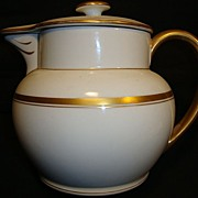 Attractive Austrian Porcelain Lidded Pitcher ~ Regal Gold & White Decorated ~ Victoria Porcelain Schmidt & Co Bohemia 1904-1918