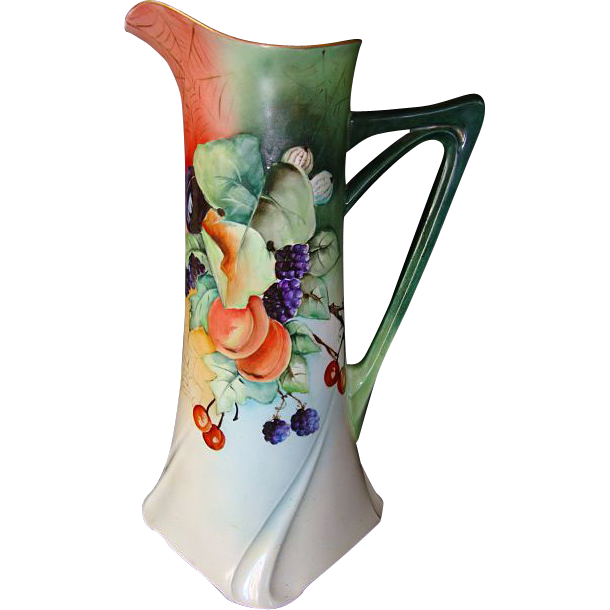 "Exquisite Limoges Porcelain 15 ¼"" Tall Ewer / Pitcher / Tankard ~ Hand painted with Cherries, Apples, Blackberries, Plums, Gooseberries and Spider Webs ~ Artist Signed ~ Jean Pouyat Limoges France April 24 1907"