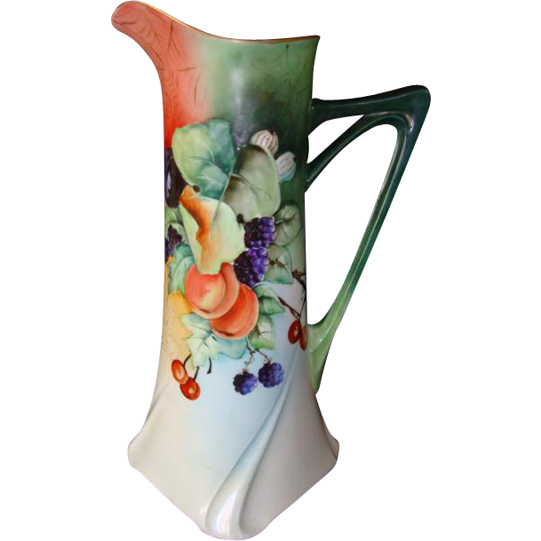 "15 ¼""  Ewer / Pitcher / Tankard ~Exquisite Limoges Porcelain ~ Hand painted with Cherries, Apples, Blackberries, Plums, Gooseberries and Spider Webs ~ Artist Signed ~ Jean Pouyat Limoges France April 24 1907"