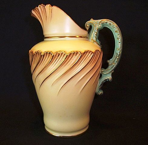 Dainty English Porcelain Pitcher / Creamer ~ Ivory, Coral & Green ~ By Royal Worcester of England 1895