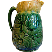 Awesome English Majolica ~ Pond Lily Pitcher  ~ Attributed to J Holdcroft late 1870 - 1885 - Red Tag Sale Item
