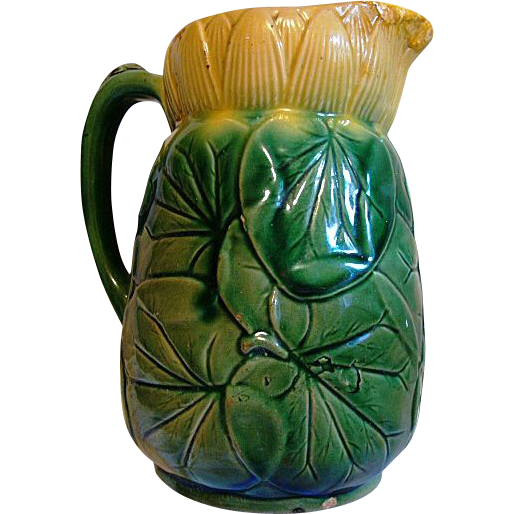 Awesome English Majolica ~ Pond Lily Pitcher  ~ Attributed to J Holdcroft late 1870 - 1885