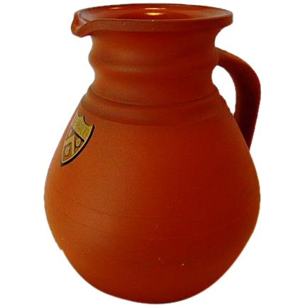 Wonderful ROSSO ANTICO ( Redware / Terra Cotta ) Pitcher ~ Cambridge Ale Shape ~Trinity College in the University of Cambridge, England Shield  by WEDGWOOD, England Dec 1869