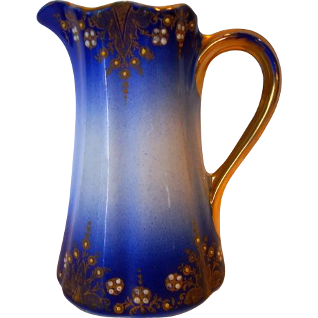 Fantastic French Faience Pitcher / Creamer ~ Cobalt with Colored Enamel ~ Keller & Guerin Luneville France 1890's