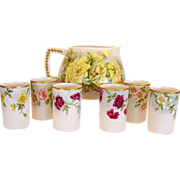 50% OFF! Hand painted Belleek Lemonade / Cider Pitcher with (6) Matching TV Limoges Cups – CAC Belleek & TV Limoges ca. 1900-1907