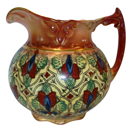 Colorful Faience / Earthenware Haynes Balt Ware Cider / Lemonade Pitcher ~ Art Nouveau Pattern ca.1900 -1914 ~ DF Haynes (Chesapeake Pottery)