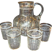 Unbelievable Floral Etched Water Pitcher and Set of Four Tumblers ~ Hand Blown ~ Melon Shape ~ Late 1800's.