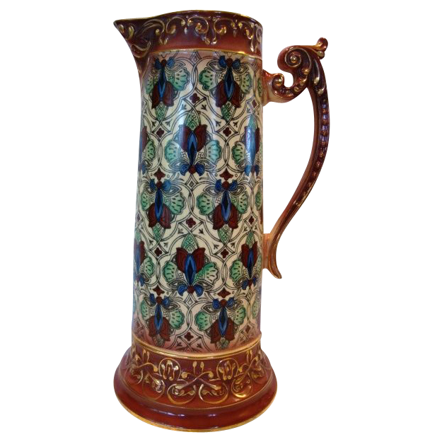 Large Tankard / Pitcher ~ Colorful Faience / Earthenware Haynes Balt Ware ~ Art Deco Pattern ca.1900 -1914 ~ DF Haynes (Chesapeake Pottery)
