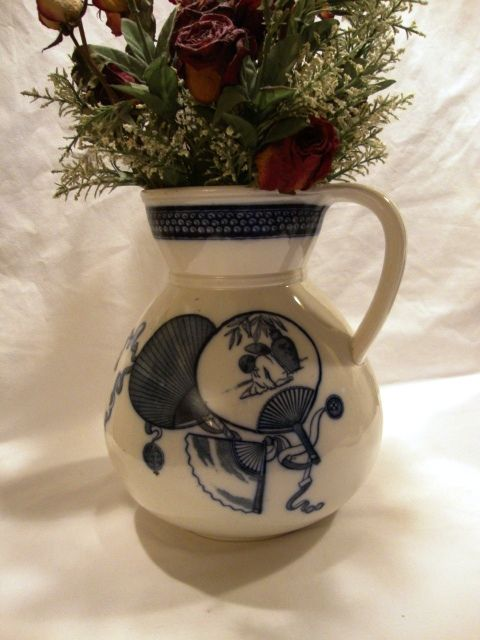 "Awesome 10"" English Porcelain Water Pitcher ~ Cobalt transfers of Japanese Fans & Prunus flowers ~ ' Livonia' Pattern ~ Brown Westhead & Moore & Co Staffordshire England 1862 - 1904"