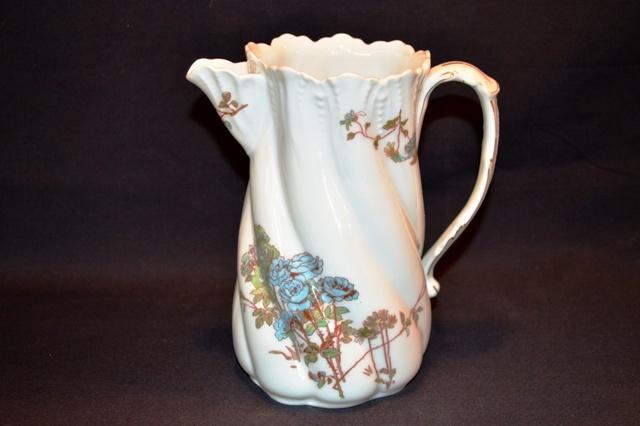 Beautiful Torse Shaped Pitcher / Creamer ~ Limoges Porcelain ~ Blue Roses ~ A K Lanternier ~ Limoges France 1890-1910