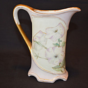 Great  Pitcher ~ Limoges Porcelain ~ Hand Painted with Lavender and white Petunias ~ Charles Field Haviland /  Gerard Dufraisseix & Morel  CFH/GDM Limoges France 1870-1882