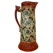 Colorful Faience / Earthenware Tankard / Pitcher~ Haynes Balt Ware ~ Art Nouveau Pattern ca.1900 -1914 ~ DF Haynes (Chesapeake Pottery) Baltimore Maryland