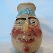 "LARGE SIZE 8 1/4"" Tall Jolly Fellow Face Jug  ~ Sarreguemines France / Germany 1894-1918"