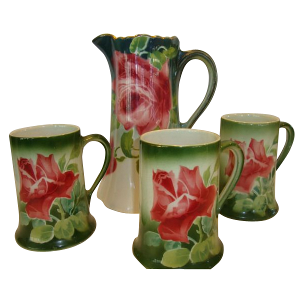 Colorful Pitcher and 3 Mugs ~ French Majolica / Faience ~Pink Roses ~ Keller & Guerin, France 1890-1930