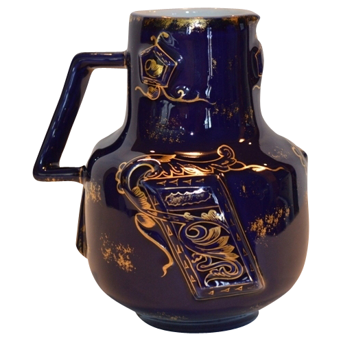 Unique Pitcher / Jug ~ Limoges ~ Cobalt with Raised Panels ~  Charles Field Haviland Limoges France 1882