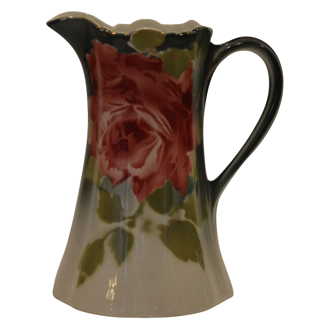 Beautiful French Faience Pitcher with Roses ~ Keller Guerin Luneville France 1890-1930