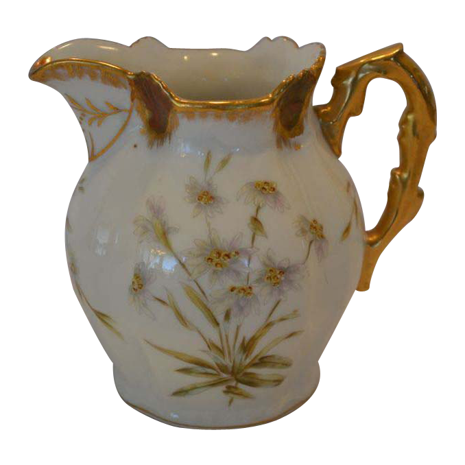 Awesome Antique Limoges Pitcher ~ Hand Painted with Enameled Enhanced Flowers ~ Latrille Feres Limoges France 1899-1913 / P & B Limoges France