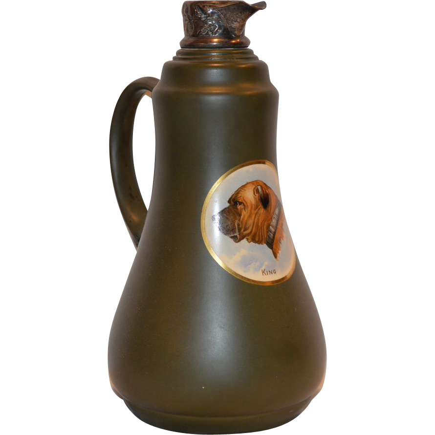"Wonderful Old Earthenware Pitcher with Bull Mastiff named ""King"" Decal and Silver Spout ~ Taylor Tunnicliffee 1875 – 1898"