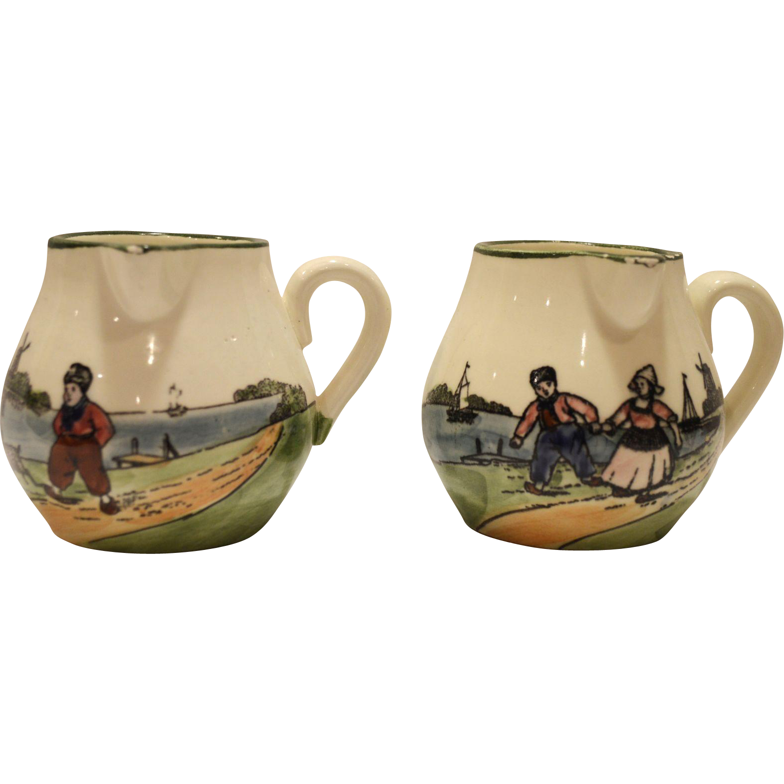2 - Adorable German Earthenware Creamers with Side Spout and Hand Painted Dutch Children ~ ZELL UNITED CERAMIC FACTORIES - GEORG SCHMIDER (Germany) - ca 1907 – 1928