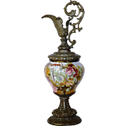 Beautiful Ewer / Vase ~ Tapestry & Metal ~ Hand Painted Floral ~  FRANZ ANTON MEHLEM EARTHENWARE FACTORY - Bonn Rhein Germany ~ 1887-1920
