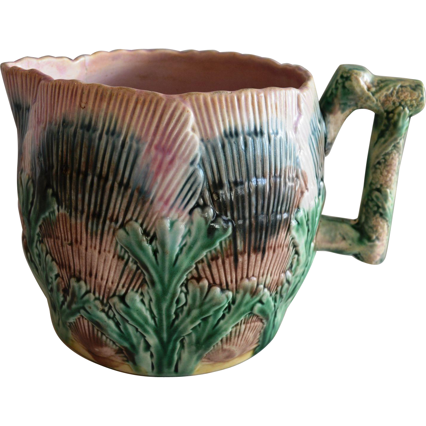 Etruscan Majolica Pitcher / Flower Pot ~ E26 ~ Seaweed / Seashell~ Griffen, Smith, Hill Phoenixville, PA 1879 - 1892