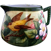 One of a Kind Porcelain Lemonade / Cider Pitcher ~ Hand Painted with a Pair of Goldfinch with Apple Blossoms ~ Artist Signed