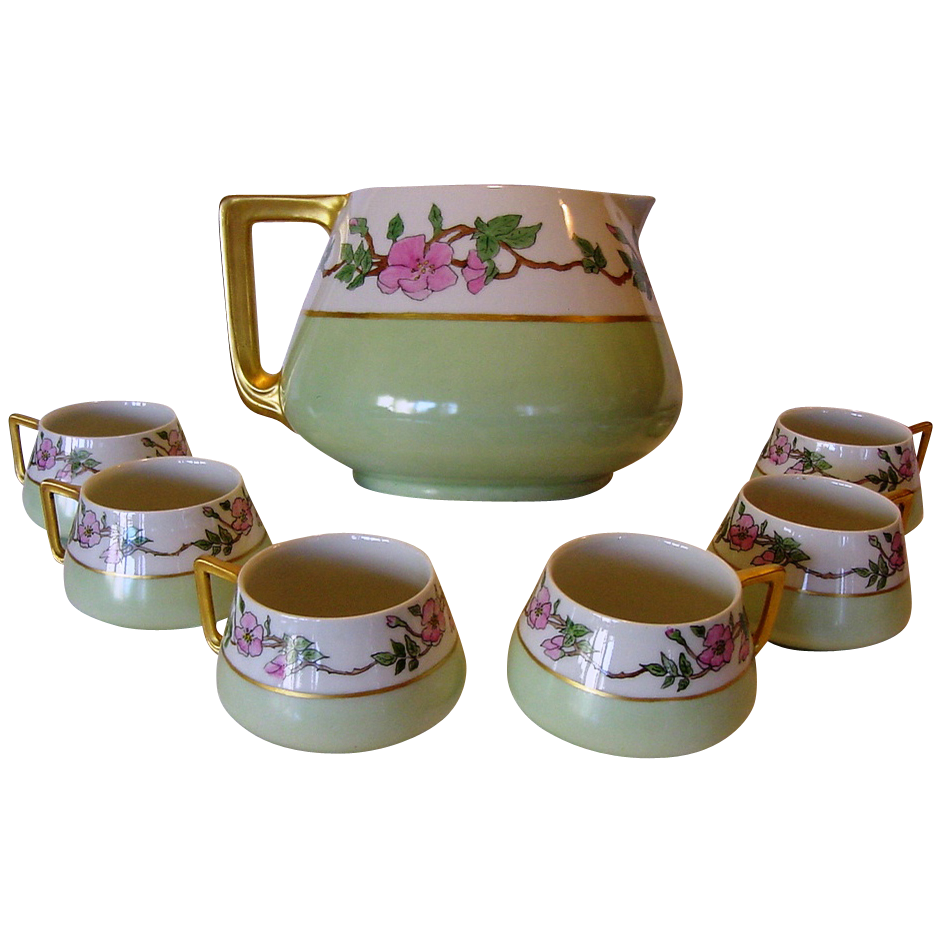 50% OFF!  Limoges Lemonade / Cider Pitcher and (6) SIX Matching Cups ~ Hand Painted with a Pink Flowers ~ R. DELINIERES & CO (LIMOGES, France) (BERNARDAUD & CO) ca. 1894 – 1900