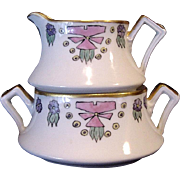 50% OFF!  Unusual Limoges Porcelain Stacking Sugar Bowl and Creamer ~ Hand Painted with an Art Nouveau Design ~ Coiffe ~ 1891-1914