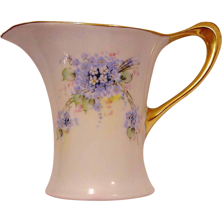 "Unique Shaped  Bavarian Porcelain Pitcher ~ Hand Painted with Blue, White and Pink Flowers ~ Stouffer Studio Decorated ~ Pattern ""Cacilie"" ~ Huthenruther,  Selb Bavaria / Favorite   1906-1914"