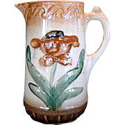 Majolica Pitcher ~ Raised Tulip Design
