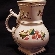 Wonderful Old English Pitcher Decorated with Pink Flowers ~ Sampson Bridgwood & Son Staffordshire UK 1885-1910