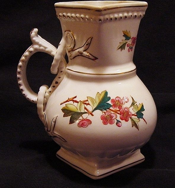 Wonderful Old English Pitcher Decorated with Pink Flowers ~ Sampson Bridgwood & Son Staffordshire UK 1885-1910