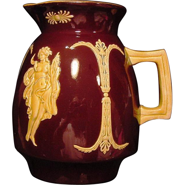 Majolica Pitcher ~ Brown English Glaze ~ Decorated with Goddess Appliques ~ Josiah Wedgwood 1890's