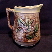 Wonderful Little Majolica Pitcher / Creamer with Basket Weave and Flowers