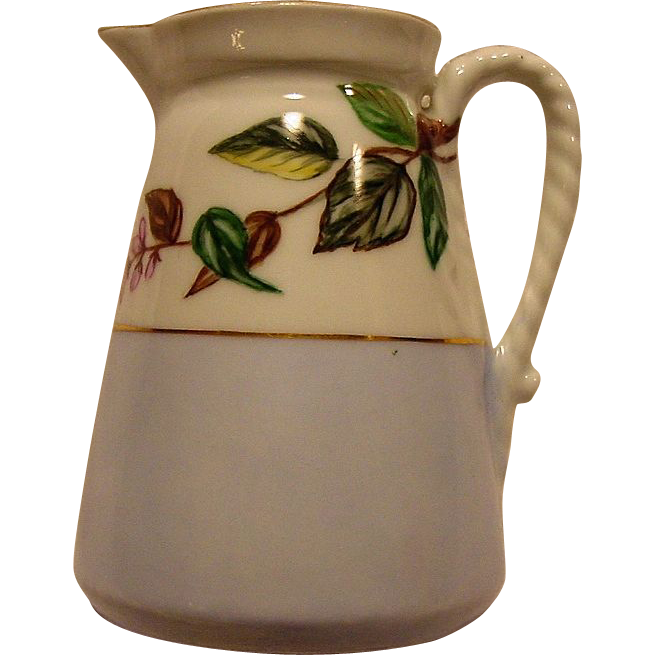 Beautiful Limoges Porcelain Pitcher ~ Hand Painted with Multi-colored Leaves ~ Haviland & Co 1875-1882