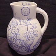 Wonderful 133 Year Old English Blue and White Aesthetic Transferware Pitcher ~ Lyons Pattern ~ William Alsager Adderley (& Co) England 1876-1885