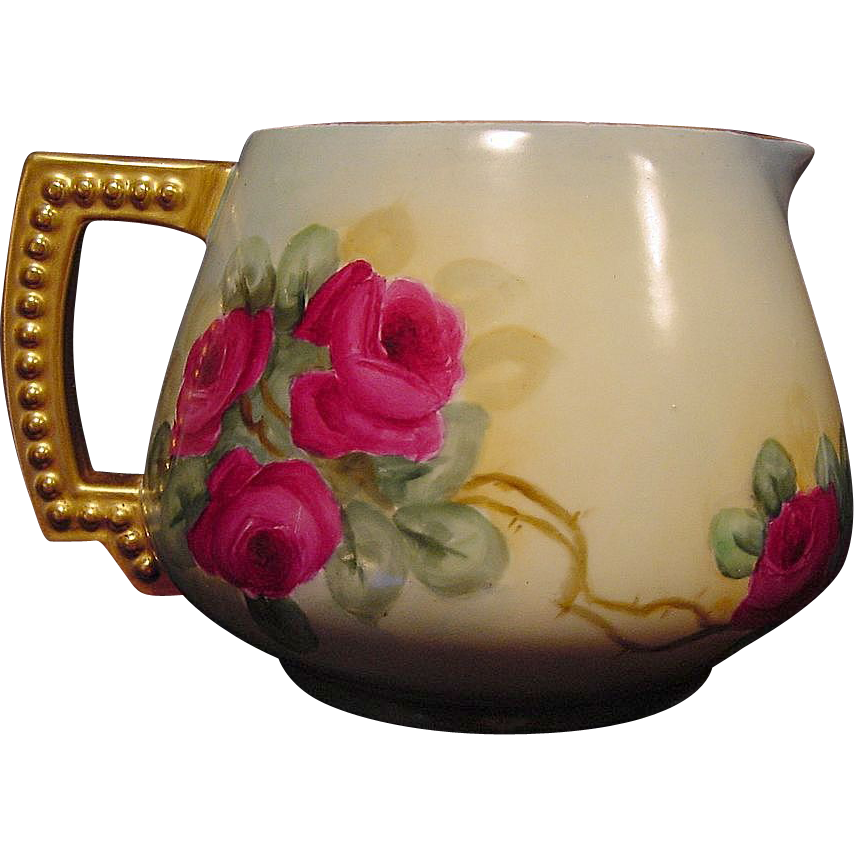 Outstanding Limoges JPL Porcelain Lemonade / Cider Pitcher ~ Hand Painted with Red Roses ~ Jean Pouyat  France 1890-1932