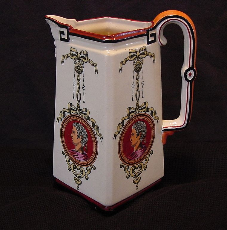 UNBELIEVABLE 147 Yr Old English Earthenware Footed Pitcher ~ Greek Profile ~ G.L. Ashworth & Bros Hanley, England 1862-1880