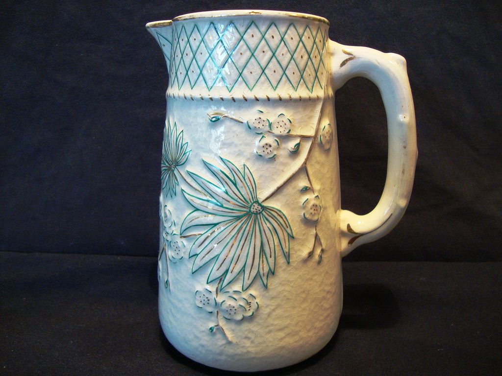 Wonderful Old Faience / Majolica Pitcher ~ Teal Flowers with Gold Accents ~ Balt Avalon ~Chesapeake Pottery / D. F. Haynes and Son, Co., Baltimore MD late 1879-1900
