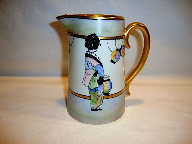 Lovely Limoges Porcelain Pitcher / Creamer ~ Hand Painted with Geisha Girl in Kimono with Japanese Lanterns ~ Bernardaud & Co (B&C) Limoges France 1914-1930