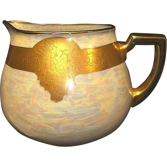 Beautiful Bavarian Porcelain Lemonade / Cider Pitcher ~ Hand Painted with Gold Embossed Grapes on Pearl Luster~ Artist Signed ~ Zeh Zcherzer Bavaria ( ZS & Co )1880+