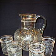 Unbelievable Floral Etched European Water Pitcher and Set of Four Tumblers ~ Hand Blown ~ Melon Shape ~ 1800's