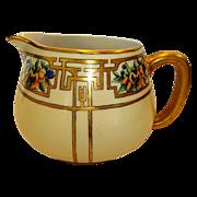 Wonderful Limoges Porcelain Art Deco Lemonade / Cider Pitcher ~ Hand Painted with Passion Fruit and Gold Designs ~ Haviland France 1893-1930