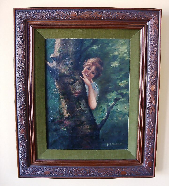 Delightful Oil on Canvas of Girl by Tree ~ by  Astrid F Okerlund  (1939)
